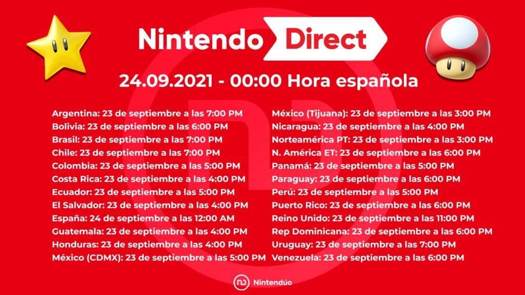 Nintendo Direct septiembre 2021 horarios y predicciones